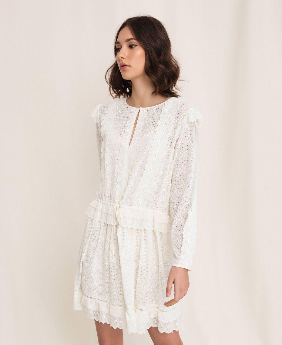 Robe en broderie anglaise avec cordon coulissant Blanc Neige Femme 201TP2496-03