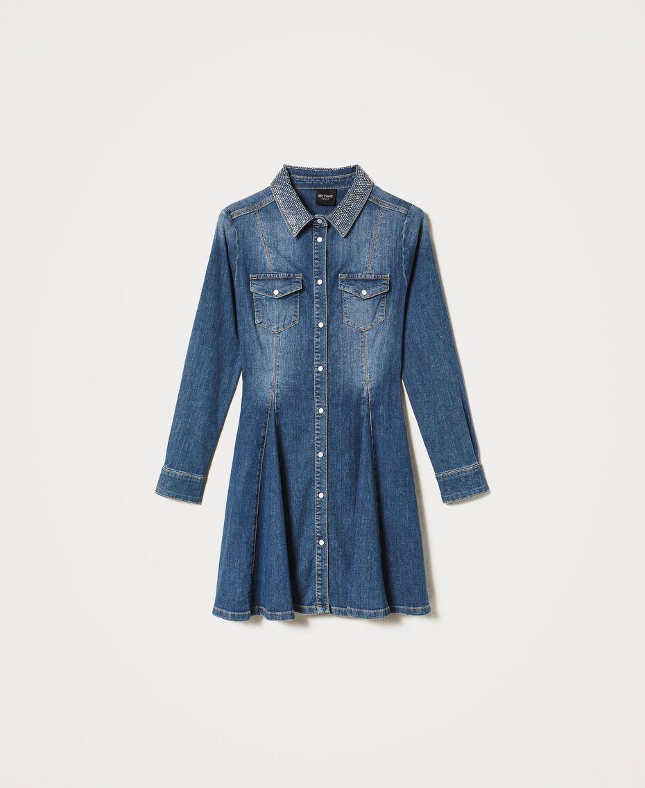 """Abito chemisier in jeans con borchie Blu """"Denim Medio"""" Donna 202MP2473-0S"""