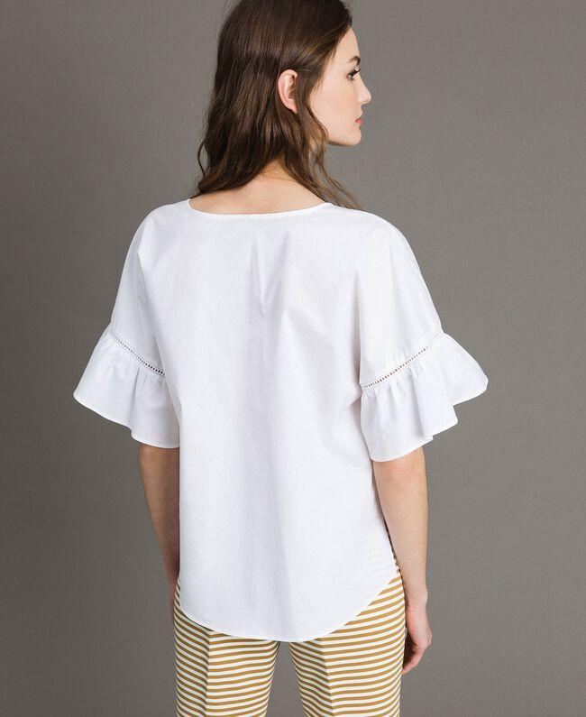 Poplin flounce blouse White Woman 191TT224D-04