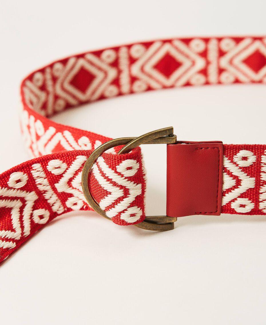 Cinturón de jacquard con borlas Jacquard Étnico Blanco «Nieve» / Negro Mujer 211TO5067-02