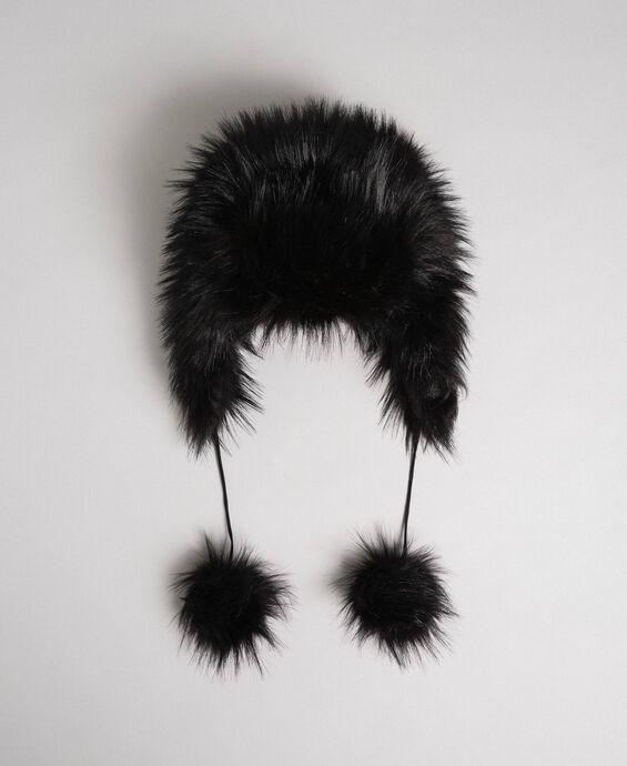 Faux fur pompom hat