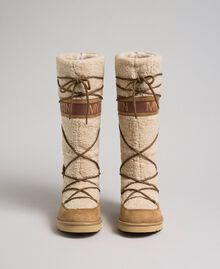 Faux fur boots with tie-up laces and logo Irish Cream Hazelnut Woman 192MCT180-05