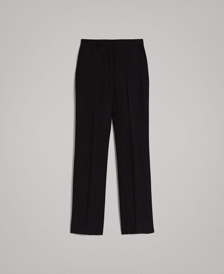 Pantalon en toile naturelle Noir Femme 191TT2295-0S
