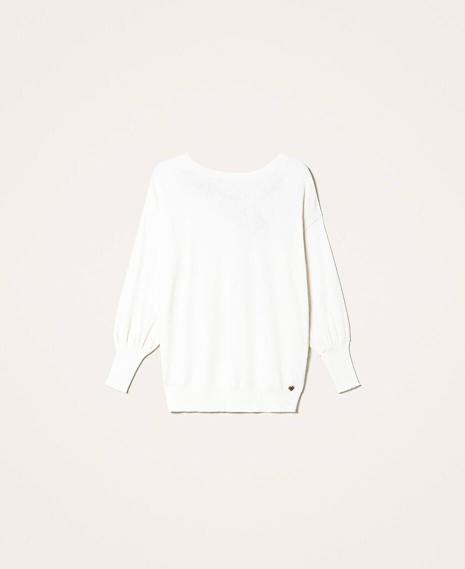 """Maglia in misto lana con fiocco Bicolor Bianco """"Neve"""" / Nero Donna 202TT3172-0S"""