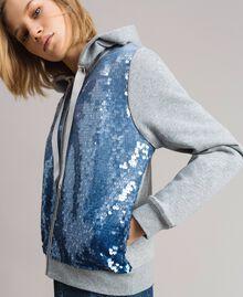 """Sweat-shirt avec sequins dégradés Bicolore Mélange Gris Clair / Bleu """"Bleuet"""" Femme 191MP2072-05"""