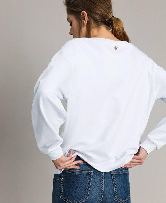 Sweatshirt mit Aufdruck und Stickerei Weiß Frau 191MT2351-03