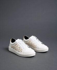 Sneakers de piel sintética con strass Blanco Mujer 192MCT140-03