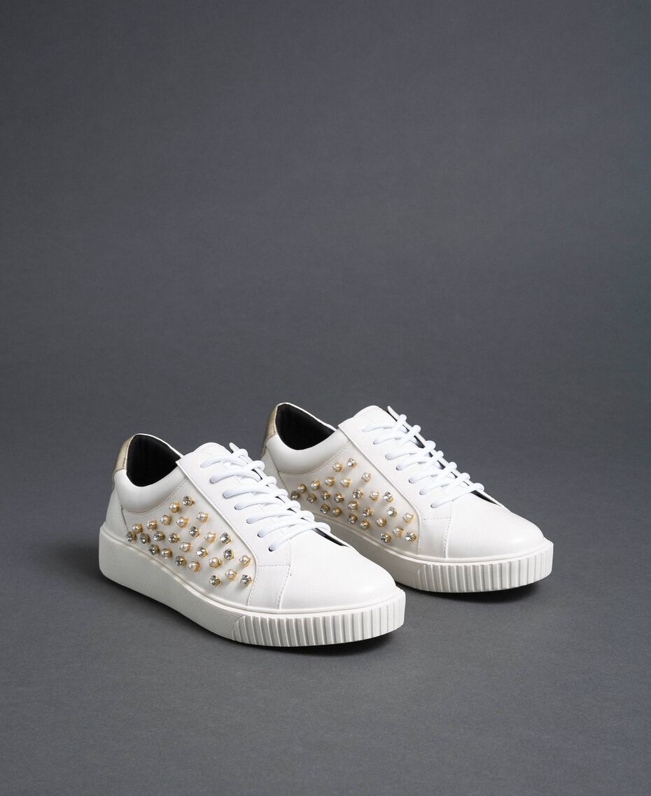 Sneakers in similpelle con strass Bianco Donna 192MCT140-03