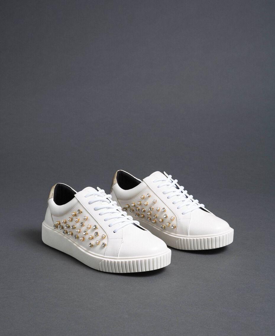 Baskets en similicuir avec strass Blanc Femme 192MCT140-03