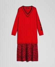 Robe en maille avec insertion animalière Bicolore Noir / Lys Femme 192MP3052-0S