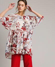 Tunikakleid aus Georgette mit Blumenprint Motiv Exotisch Ecru Frau 191ST2222-02