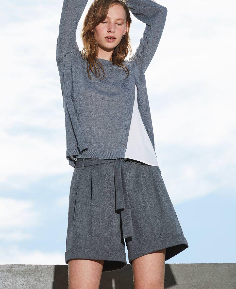 Shorts with belt and folded hem Medium Gray Mélange Woman 202ST2202-01