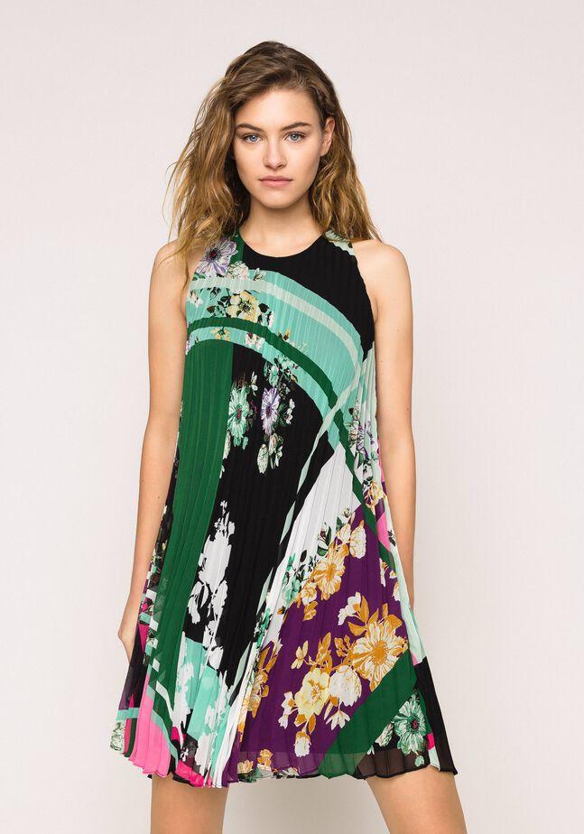 Plisseekleid aus bedrucktem Georgette