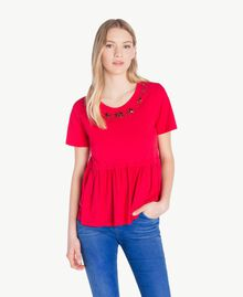 Embroidered maxi T-shirt Vermilion Red Woman JS82RE-01