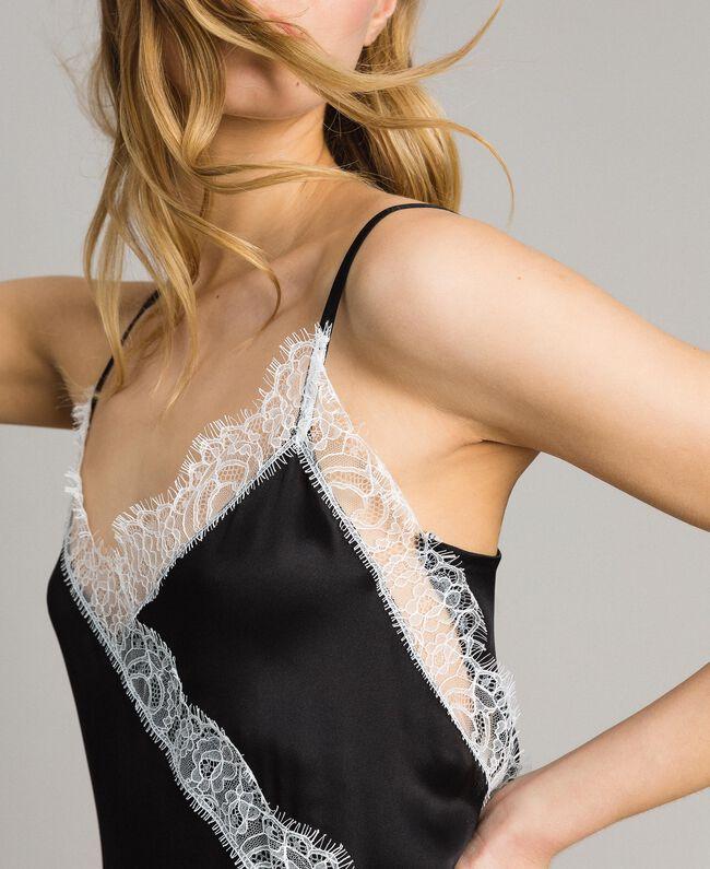 "Silk blend long dress with lace Bicolour Black / ""Snow"" White Woman 191TT2091-04"