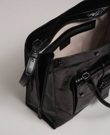 Leather shopper with decorative buckle Black Woman 192TO7235-05