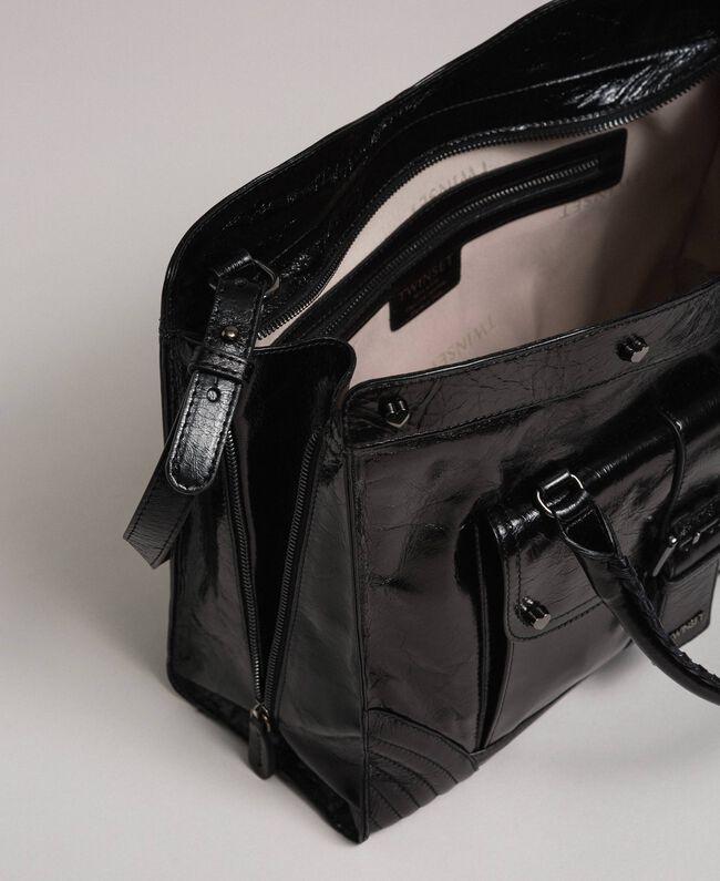 Sac cabas en cuir avec boucle décorative Noir Femme 192TO7235-05