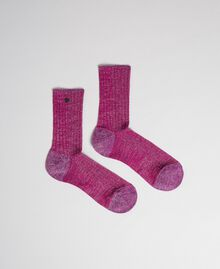 Ribbed socks with lurex and logo Piquant Purple Woman 192TO5418-01