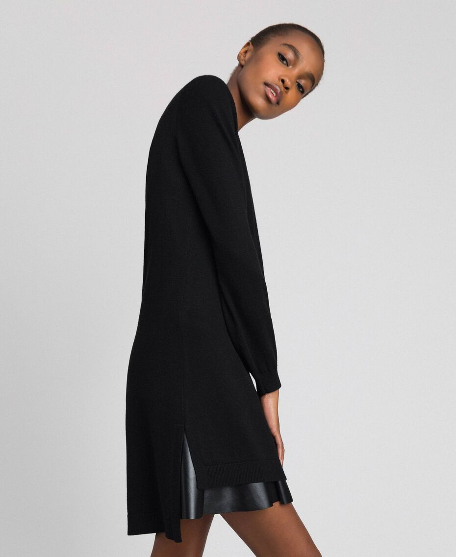 Wool and cashmere dress with faux leather Black Woman 192ST3151-02