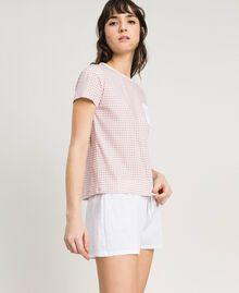 "Short gingham print pajamas ""Pink Bouquet"" Woman 191LL2ECC-02"