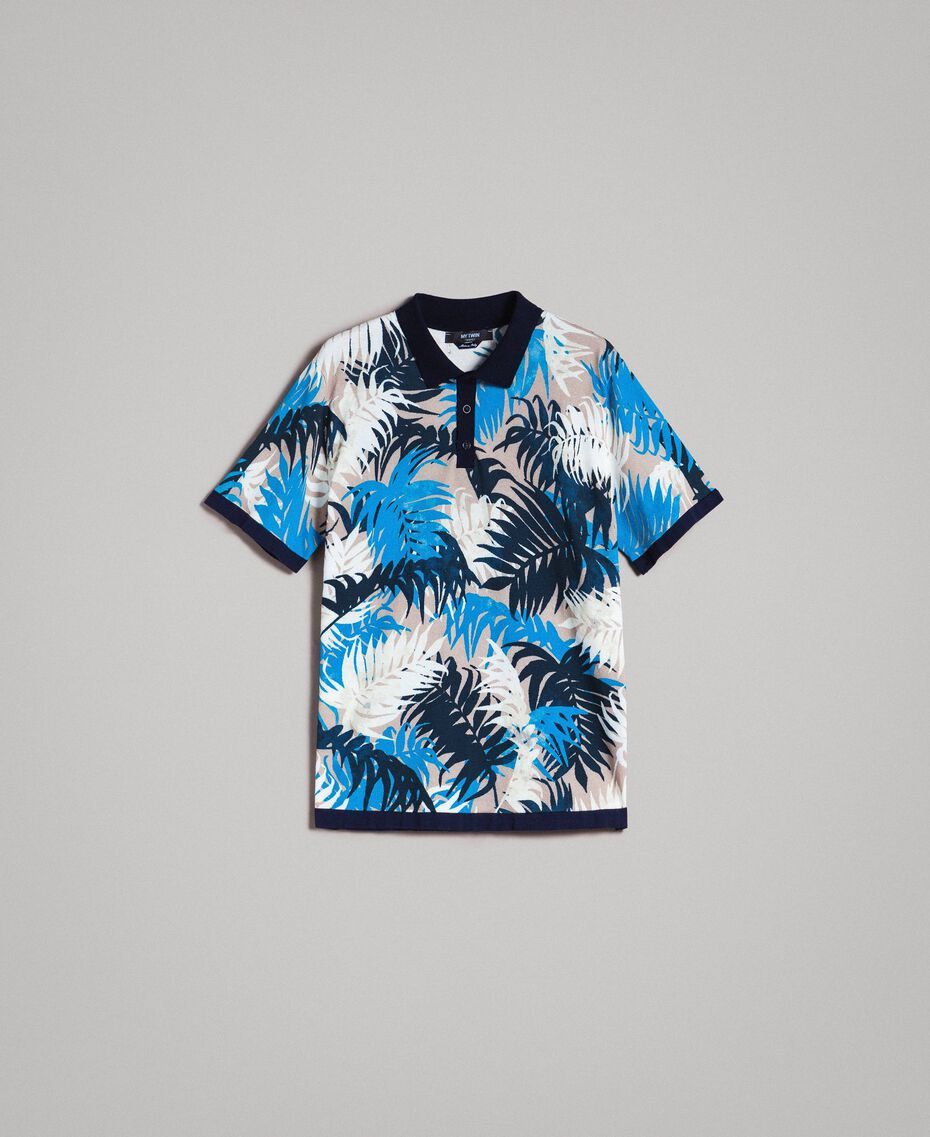 "Crêpe cotton printed polo shirt All Over ""Palms"" Marine Print Man 191UT3061-0S"