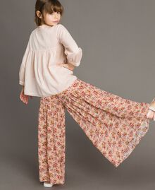 Floral georgette trouser skirt Mini Flowers Print Child 191GJ2801-03