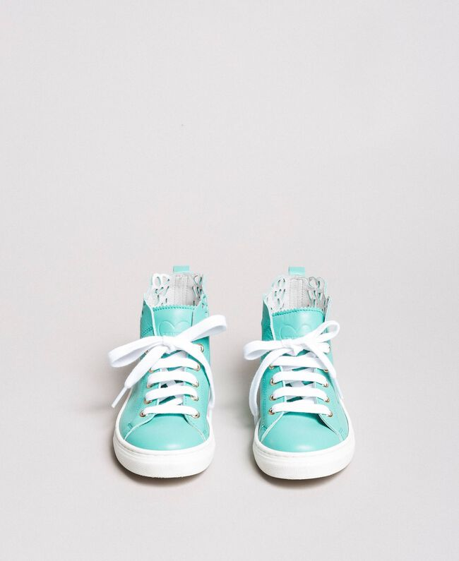 "Nappa sneakers with perforated detail ""Island Paradise"" Light Blue Child 191GCJ172-04"