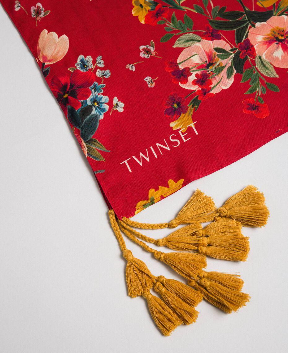 Schal mit Blumenprint und Quasten Feldblumenprint Granatapfel Frau 192TA4424-02