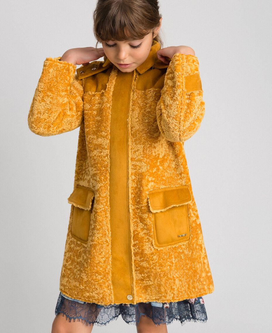 Faux shearling coat with hood Ochre Yellow Child 192GJ2180-03