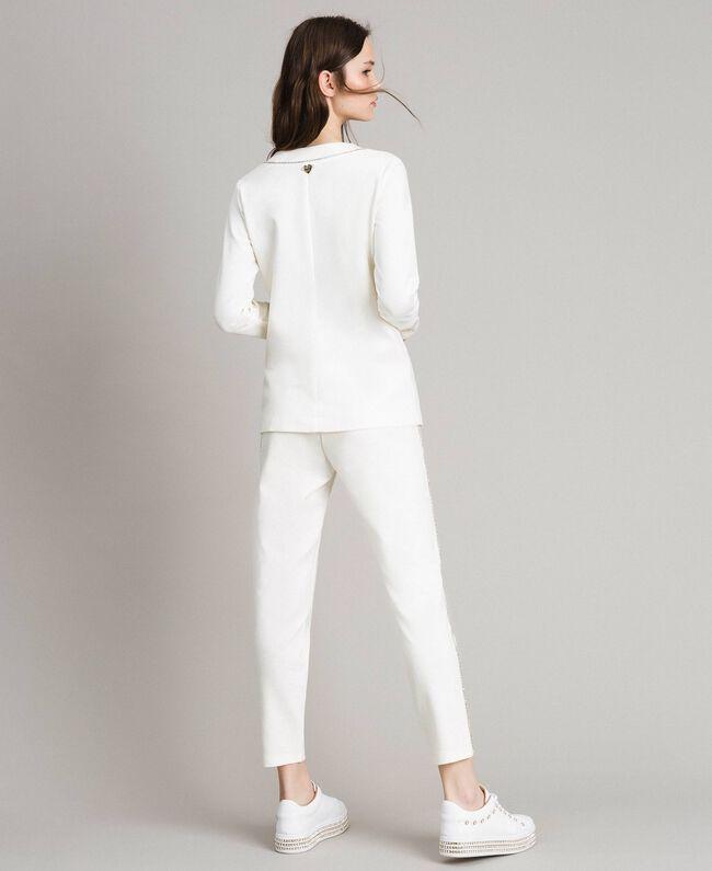 Pantalon cigarette strassé Blanc Femme 191LB22KK-04