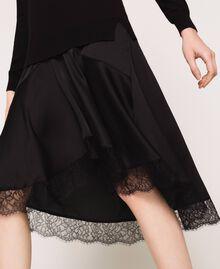 Knit dress with slip effect satin Black Woman 201TP3070-05