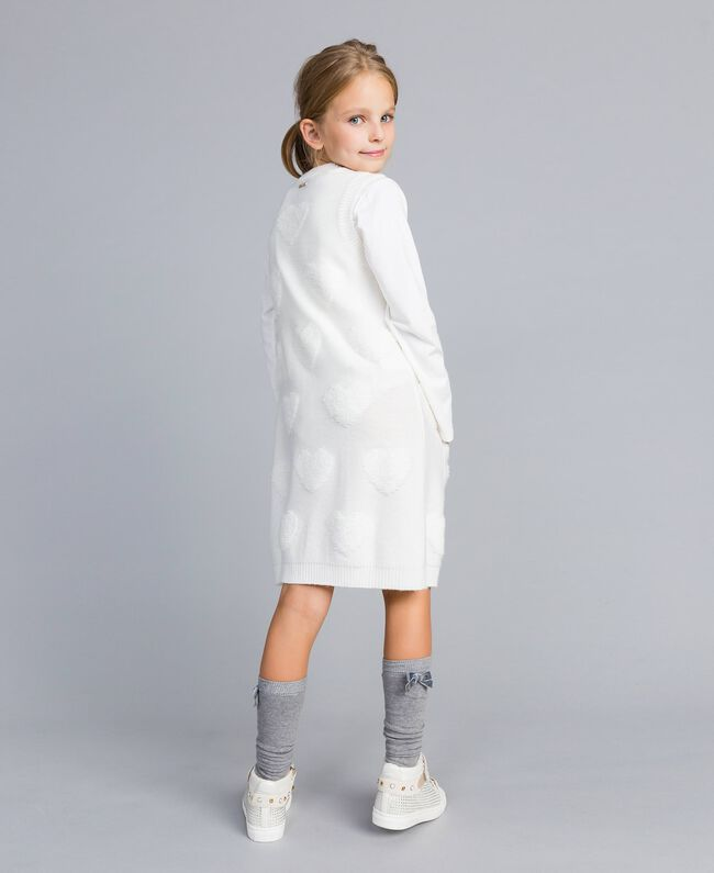 Long knitted gilet with hearts Off White Child GA83DA-03