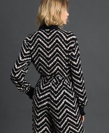 "Floral and chevron print shirt Black / ""Snow"" Chevron Print Woman 192TP2529-03"