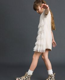 Dress with pleated tulle flounces Pale Cream Child 192GJ3110-02