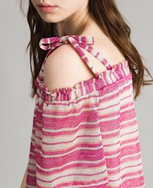 "Lurex striped blouse with bows Pink / ""Tangerine Cream"" Pink Multicolour Striping Woman 191LB2AKK-04"