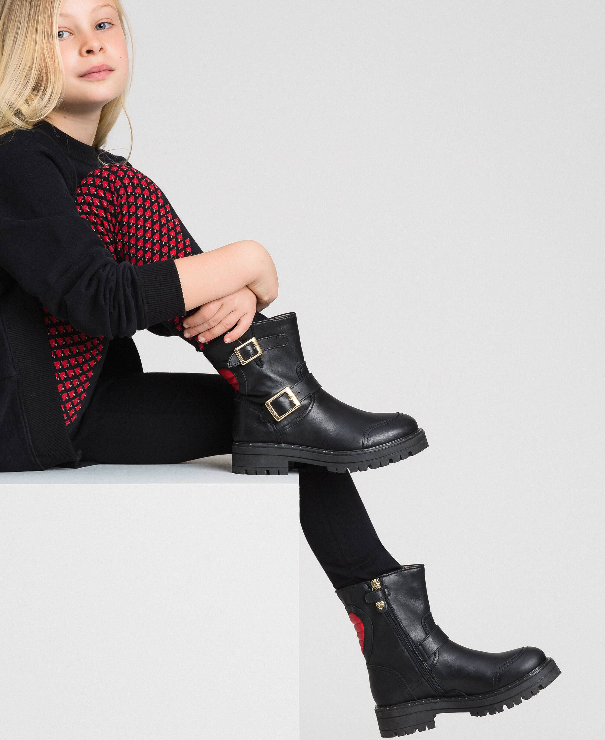 Leather biker boots with heart Child