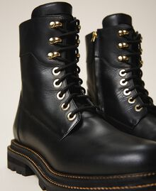 Tie-up leather combat boots Black Woman 202TCP182-04