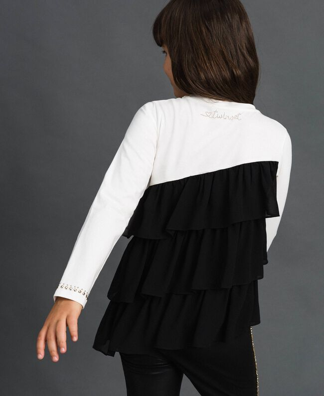 T-shirt avec volants asymétriques et clous Blanc / Noir Enfant 192GJ2116-03