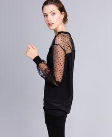 Maxisweatshirt aus Crêpe de Chine aus Seide Schwarz Frau PA82B4-02