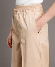 "Pantaloni a palazzo in popeline Beige ""Marzapane"" Donna 191TT223C-04"
