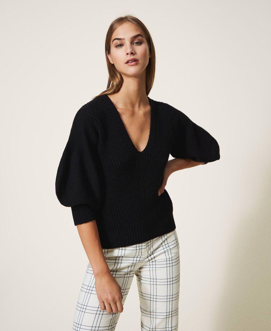 Jersey de lana mixta Negro Mujer 202MP3162-01