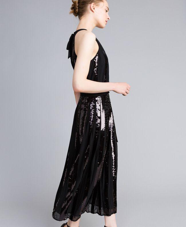 Robe longue en crêpe georgette avec paillettes Noir Femme PA82J1-01