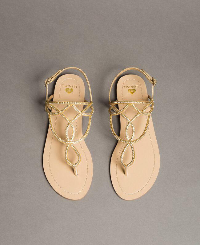 """Sandales plates avec strass Or """"Doré"""" Femme 191LM4ZSS-04"""