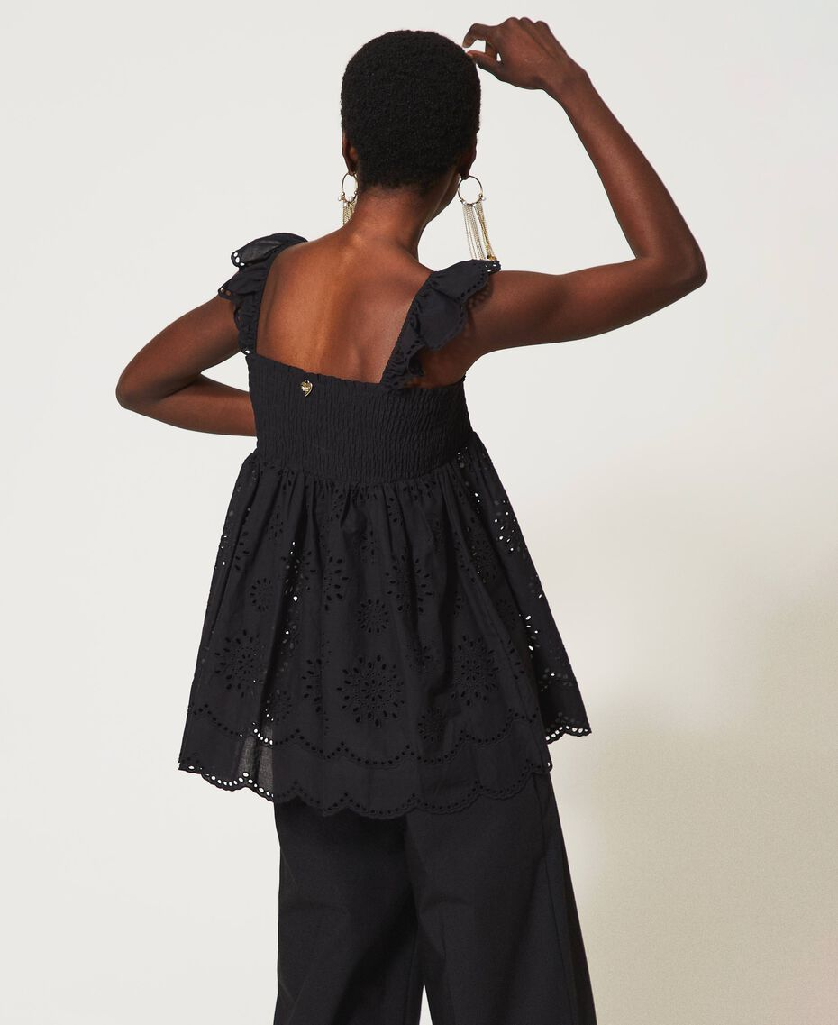 Muslin top with broderie anglaise embroidery Black Woman 211TT2593-03