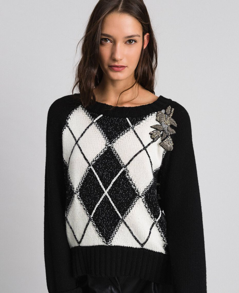 Boxy jumper with diamond patterned inlays and embroidery Inlay Black Woman 192TP3221-01