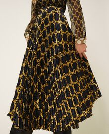 Pleated skirt with chain print Black / Gold Large Chain Print Woman 202TT2212-04