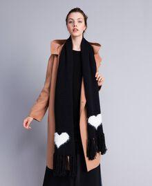 Strickschal mit Herz Zweifarbig Schneeweiß / Schwarz Frau AA8P5A-0S