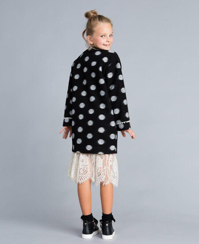 Пальто из сукна в горох Набивной Горох Черный / Желтовато-белый Pебенок GA82CG-03