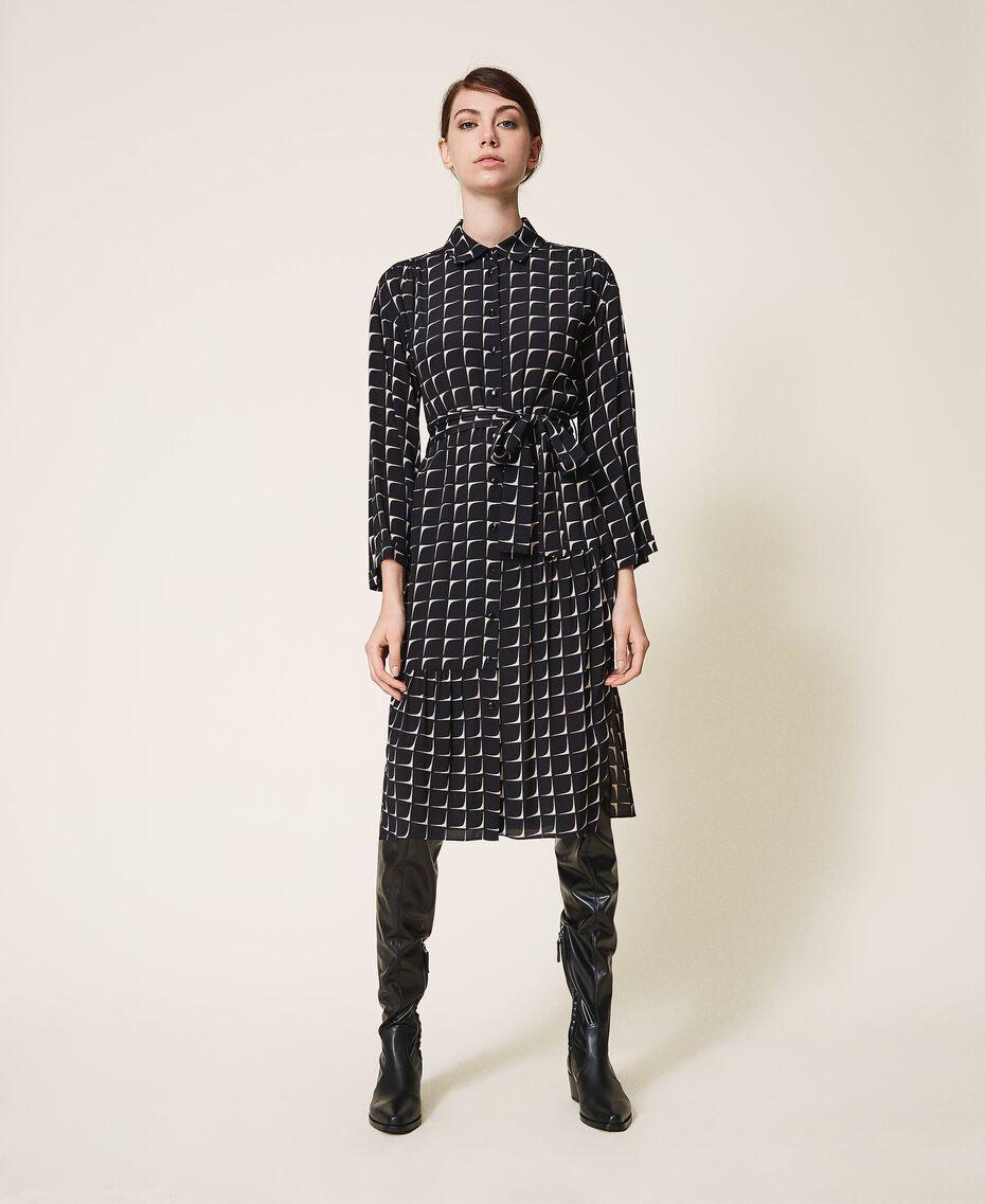 "Printed crêpe de Chine shirt dress Black /""Nude"" Beige Optical Print Woman 202ST2501-01"