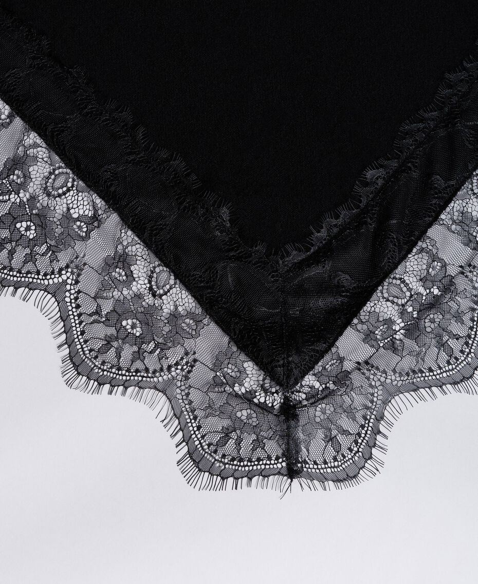 Schal aus Kaschmirmischung und Spitze Schwarz Frau AA8P1P-02
